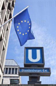 01AHDRVM; Brandenburger Tor U-bahn station, Brandenburg Gate underground railway station, in front of European House with a European flag, Berlin, Germany, Europe