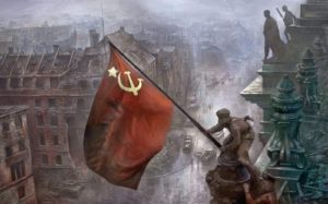 Iconic painting of the Red Flag